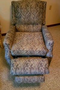 blue and brown floral sofa chair Atwater, 44201