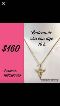 Gold-colored angel pendant necklace screenshot