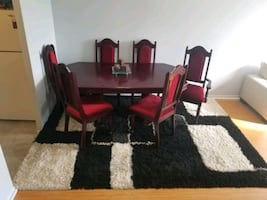 Solid cherry wood handcraft dining table with 6 chairs great conditi