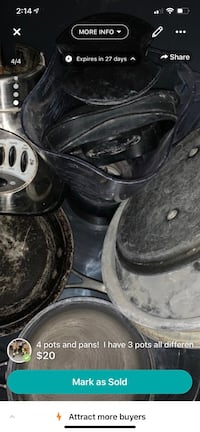4 pots and pans!  I have 3 pots all different sizes.  I also have a blender that works well I have.  20 dollars for all the pots and pans and blender.  The pots and pans are all clean and in good shape I just have them in a bin and they are put up! Albuquerque, 87123