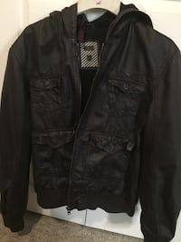 Leather jacket with hood Men's L to XL