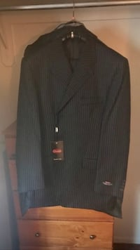 Unaltered/brand new black pinstripe suit
