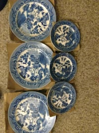 6Made in occupied Japan antique blue willow set Blakeslee, 18610