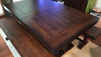 Solid oak dining table with/benches