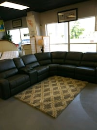 black leather sectional sofa with throw pillows Fort Myers, 33966