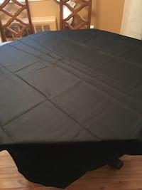 "New Black Polyester Tablecloth, 52"" x 52"", washable and no iron."
