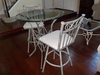 round glass top table with four chairs dining set Oceanside