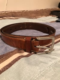 brown leather belt with silver buckle Langley, V2Y 3G2
