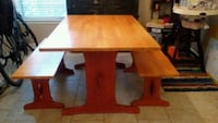 Wooden dining table with 2 benches and 2 chairs 40 km
