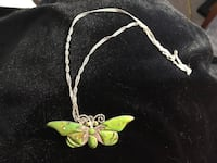 Sterling silver green butterfly necklace