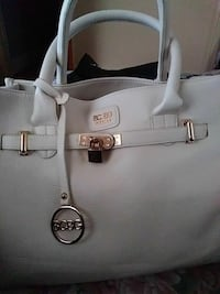 white BCBG leather tote bag