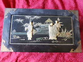 Antique Asian music jewelry box with soapstone