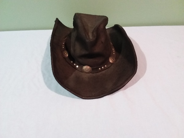 870a3b76e3f Used Black leather cowboy hat for sale in Coon Rapids - letgo