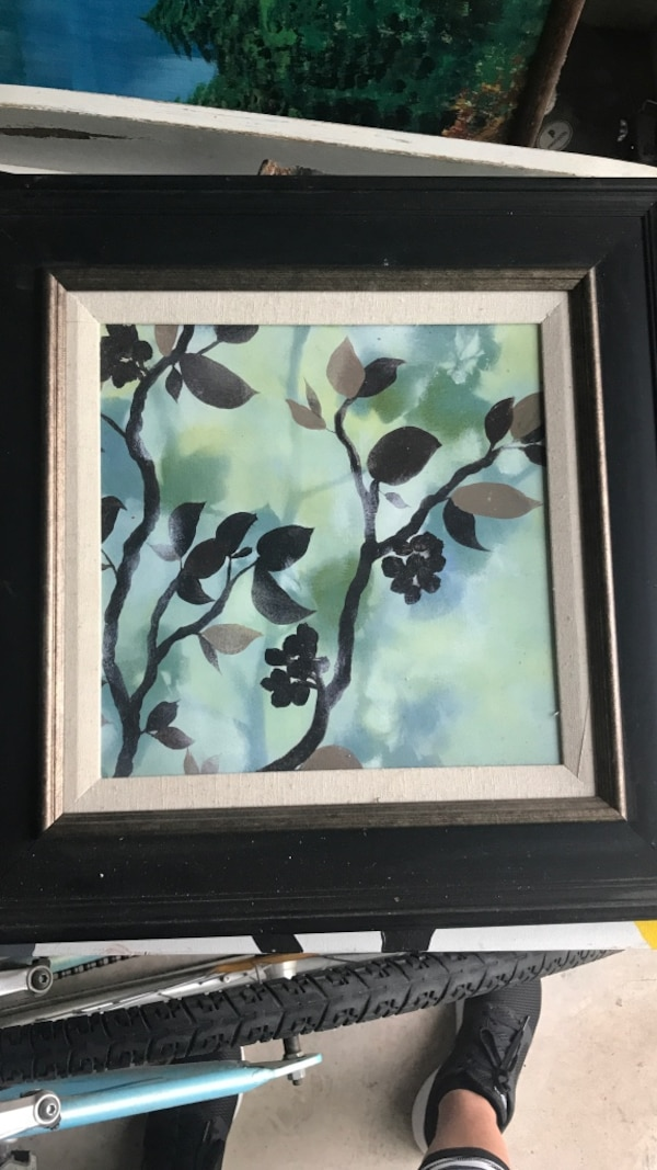 white and black flower painting