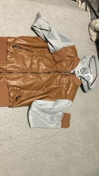 brown and grey leather zip hoodie jacket Regina, S4N 4E1