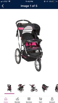 baby's black and gray jogging stroller 34 km