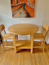 Crate and Barrel Counter Height Drop Leaf Birch Kitchen Table & Chairs