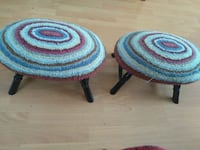 two round gray and red stools Vancouver, V5X 2E8