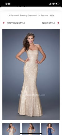 La femme designer gown - gold sequin lace mermaid