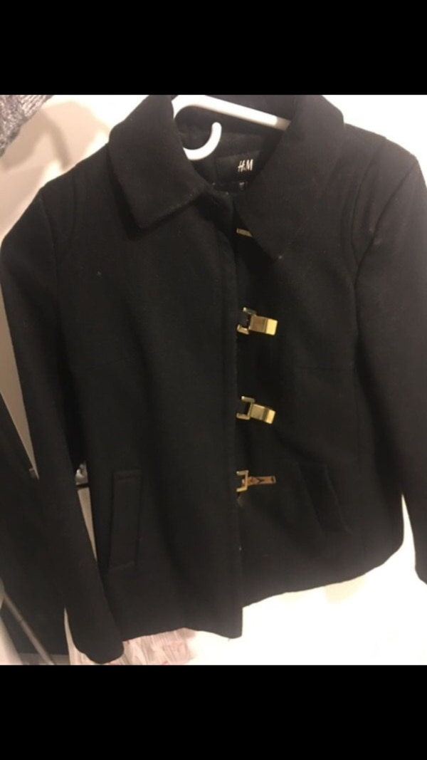 Used H M black button up collared coat for sale in Boston - letgo 9026815d46a0