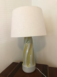 Lamp with shade. Yellow and cream base.
