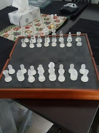 glass chess piece with black and brown board Calgary, T3K 3V5