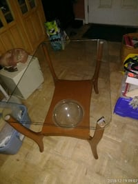 Mid century glass top table with terrarium ball Mary Esther