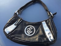 black and silver leather hobo bag