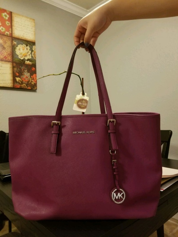 2bb6437cc0669a Used leather Michael Kors tote bag purple for sale in Santa Clara ...