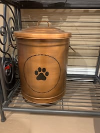 Copper dog food canister