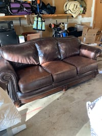 brown leather 3-seat sofa Austin, 78757