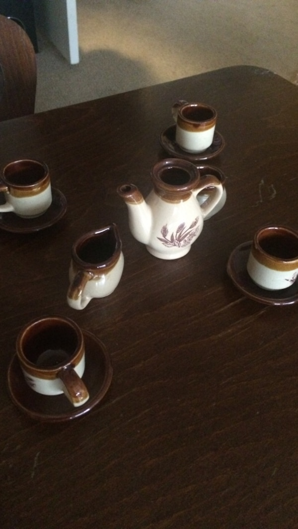 Stoneware toy tea set