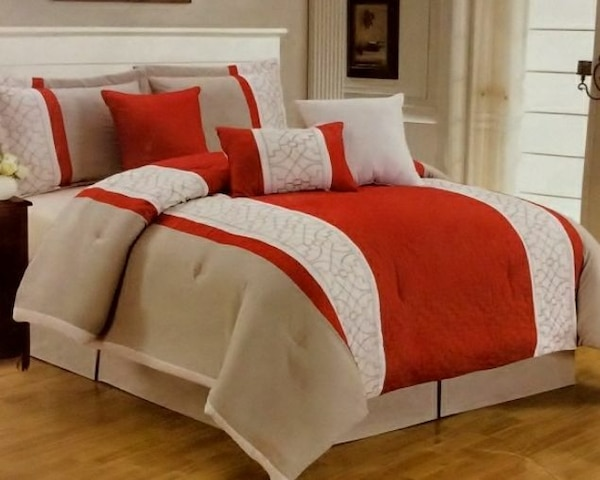 brown, white and red beddings