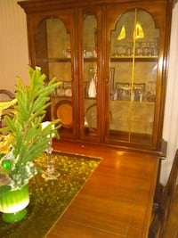 brown wooden framed glass display cabinet Chicago, 60629