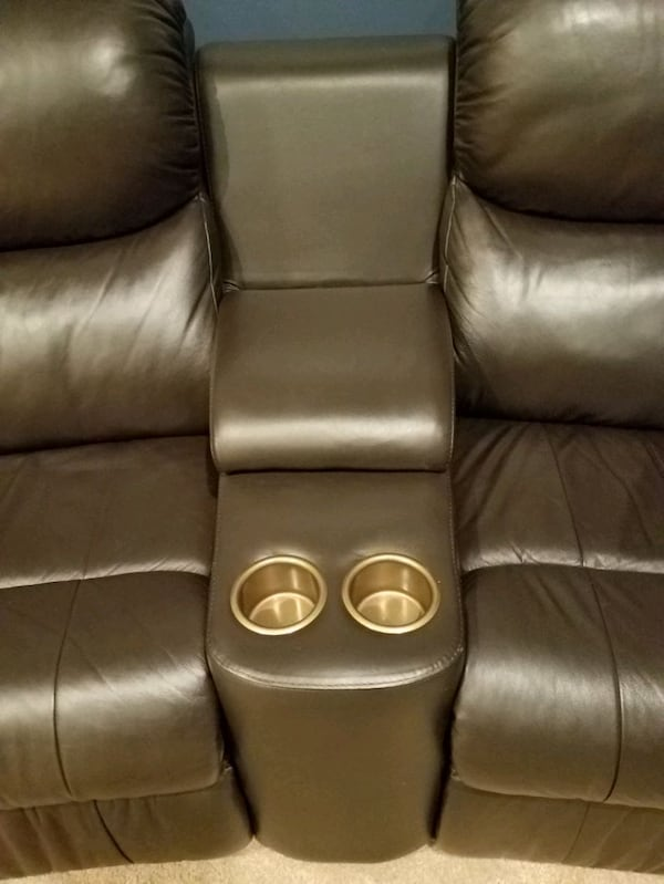Leather stadium seating couch c8afdca9-2821-45d0-ad6a-792b70b036d1