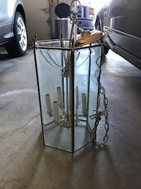 "Pendant Light, gold and glass - 18"" tall - 6 bulbs Sykesville, 21784"