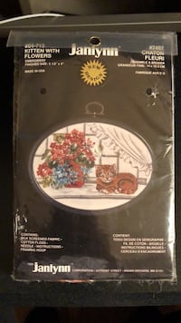 Embroidery, Kitten with Flowers, New. Toronto, M1T 2W8