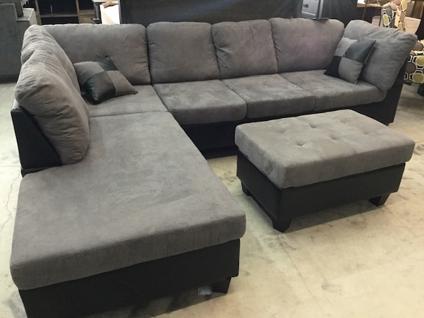 Gray Microfiber sectional sofa with FREE ottoman tufted Abbey