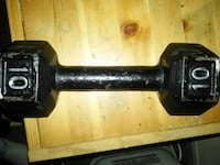 black 10 lbs. fixed weight hex-style dumbbells