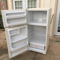 """Hotpoint apartment size refrigerator. Doors are reversible, self defrosting. Size is 28""""wider 62""""hight. Must pick up no delivery  San Antonio, 78250"""