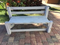 Gray wooden bench