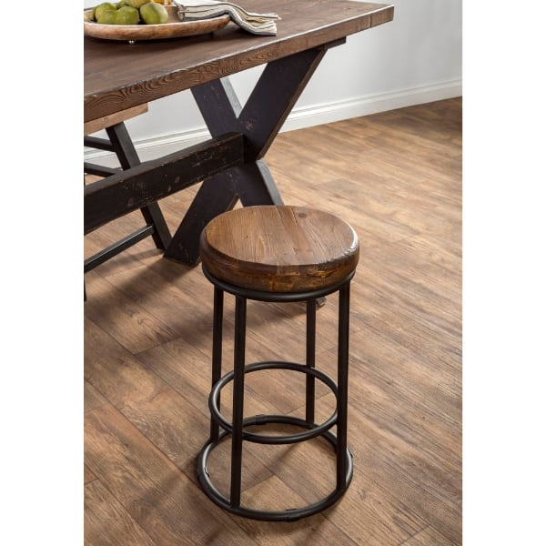 Industrial  Wood and Iron Bar Stool Reclaimed 24 in.