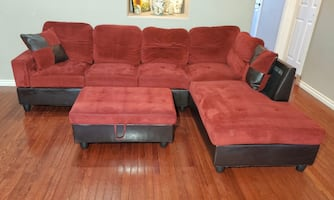 Leather & Tuft Microfiber 2-Piece L Chaise Sectional & Storage Ottoman
