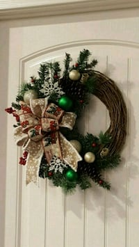 Brand new Christmas wreath with red truck and burlap ribbon