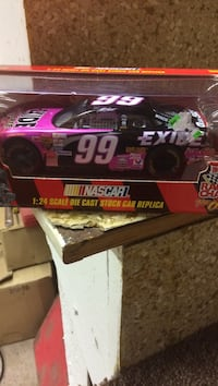 black and pink NASCAR diecast model