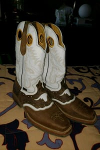 brown-and-white leather square-toe cowboy boots Arlington, 76010