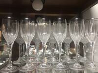 6 crystal silver rim wine glass lot