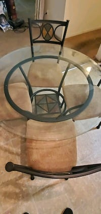 Glass dining room set with 4 chairs