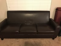 Black leather 3-seat sofa Jefferson, 30549