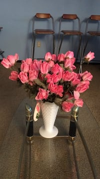 pink plastic roses on white ceramic flower vase Mississauga, L5L